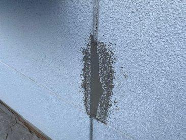 外壁破損部補修 施工中