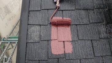 2021/6/23 屋根上塗り作業1回目